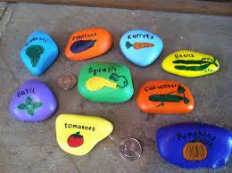 Garden Stone Craft - hand painted garden stones or markers rock art vegetables