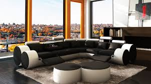 Modern Reclining Sectional Sofas Black And White Reclining Sectional Sofa Fabrizio Design Cool