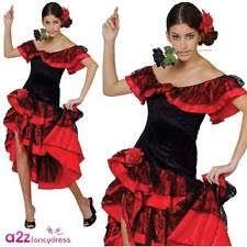 Spanish Dancer Halloween Costume Red Senorita Spanish Lady Salsa Dancer Fancy Dress Halloween