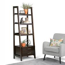 Simpli Home Warm Shaker Tv Stand Simpli Home Sawhorse Dark Chestnut Brown Storage Ladder Bookcase