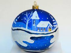painted glass ornament winter new balls