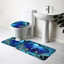 Bathroom Rugs Sets 3pcs Blue Ocean Bath Rugs Set Velvet Fabric Pedestal Mat Toilet