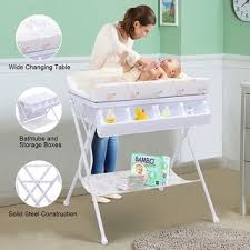 Changing Table Storage Costway Infant Baby Bath Changing Table Station Nursery