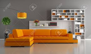 contemporary livingroom with orange sofa and bookcase rendering
