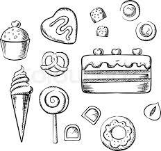 sweet cake and cupcake with cream ice cream cone glazed doughnut