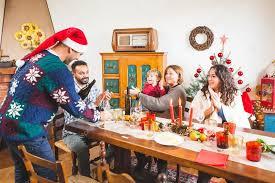 family gathering for dinner stock photo