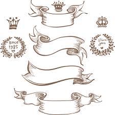 retro ribbon with ornaments vector 01 vector label