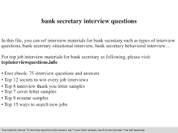 Secretary Position Resume Bank Secretary Interview Questions