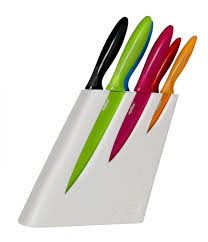 6 piece non stick coloured knife block set white