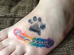 rainbow bridge memorial paw print tattoo ink pinterest paw