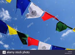 Multicoloured Flag Prayer Flag Tibet Tibetan Himalaya Buddhism Stock Photo