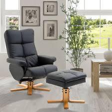 homcom pvc leather recliner and ottoman set cream homcom pvc leather recliner and ottoman set black free2dayship