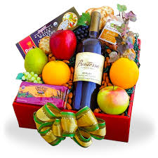 organic fruit basket organic fruit and wine gift box