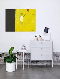 Toiles Contemporaines Design Peinture Digitale Abstraite Jaune Signée Artiste Contemporain