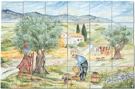 carrelage mural cuisine provencale carrelage tableau fresque murale panneau de décoration