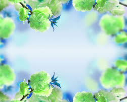 free blue background green flower frame backgrounds for powerpoint