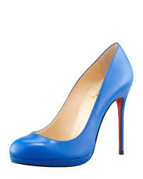 christian louboutin filo leather red sole pump blue sapphire in