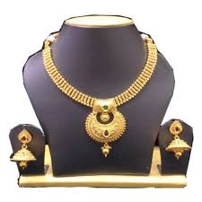 gold set gold plated pearl studded traditional temple necklace set