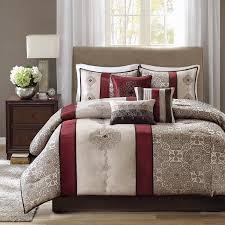 Amazon King Comforter Sets Amazon Com Madison Park Donovan 7 Piece Comforter Set King Red
