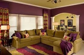 living room with stripes curtains and stripes area rug also purple