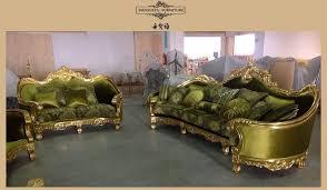 Gold Fabric Sofa Arabic Dubai Royal Gold Wood Carved Green Velvet Fabric Sofa View