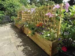 block style trough planters with trellis custom sized trellis