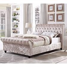 Velvet Bed Frame Justinbeds Crushed Velvet Bed Frame With Mattress And Soft