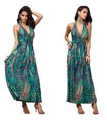 aimerfeel womans bohemian beach peacock print maxi dress in green
