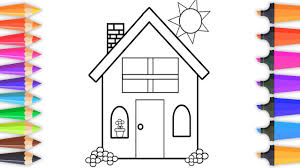 learn colors by coloring bright beautiful house drawing pages for