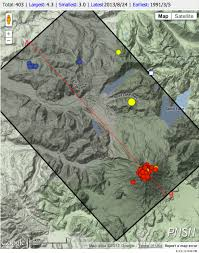 Portland Earthquake Map by Peppy Seismic Swarm 20 Km Nw Of Mount St Helens Pacific