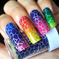 1 roll shiny cobweb nail art full tips diy gradient rainbow nail