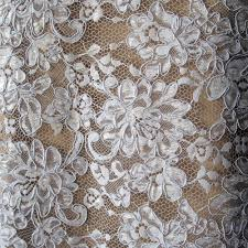 Wedding Dress Fabric White Corded Alencon Bridal Lace Fabric Floral Scallop Edging