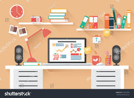 home office desk flat design long stock vector 213551806