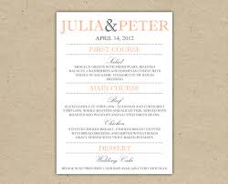 wedding menu templates to wedding menu dinner custom wedding reception printable template