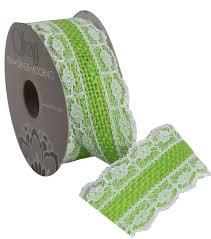 burlap and lace ribbon burlap w lace 1 and half in greenadhs r ribbon joann