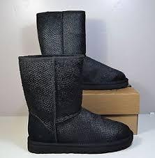 s ugg australia black boots nwt s ugg australia black snake print cow fur