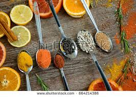 aroma spices orange pieces fruit on stock photo 664217869