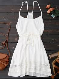 summer dress spaghetti straps drawstring waist summer dress white summer