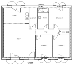 plan de maison plein pied gratuit 3 chambres plan de maison de plain pied gratuit maison de plain pied dtail du