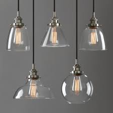 Glass Ceiling Pendant Light Industrial L Silver Brushed Ceiling Pendant Light Clear Glass
