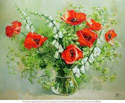 poppies flowers vase of poppies flower still paint by numbers say