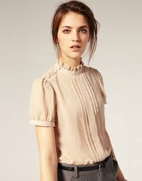 beautiful blouse feminine pinterest shoulder high collar