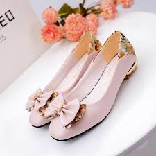 wedding shoes and bags 2017 and summer bow girl korean dress shoes side