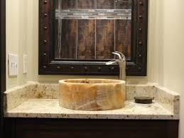 Modern Powder Room - sinks flat glass vessel sinks bottom sink modern powder room