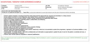 Sample Resume For Occupational Therapist by Occupational Therapist Job Title Docs