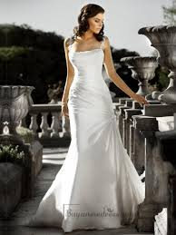 wedding dress ruching beaded spaghetti staps ruched bodice square neckline simple