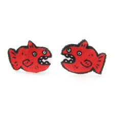 plastic stud earrings fish animal illustrated stud earrings shrink plastic