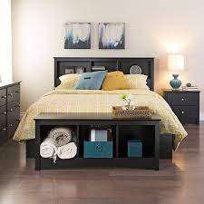 Bedroom Furniture Bookcase Headboard Prepac Sonoma Black Storage Headboard