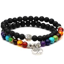 bracelet life images Diezi multicolor 7 chakra tree of life charm bracelets lava stones jpg