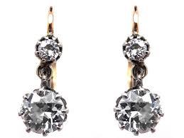 original diamond drop edwardian two diamond drop earrings in original the